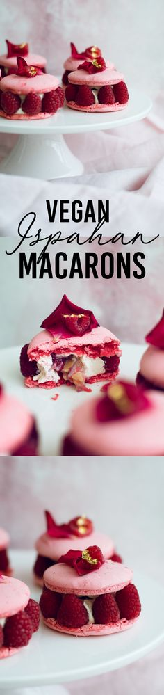 The Vegan Ispahan, made with Italian Meringue Vegan Macarons. Rose Shell, White Chocolate Rose Cream, Lychees and Raspberries. Gluten Free. #glutenfree #veganmacaron #ispahan #vegan #macarons #aquafaba #lychee #rose #veganrecipes #vegandesserts #raspberry