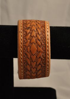Hand stamped leather cuff by Lucky2RanchSaddles on Etsy, $25.00