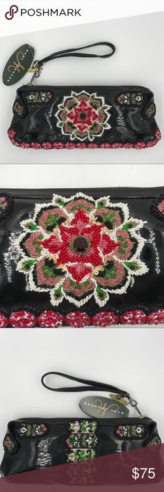 Authentic Mary Frances Zip Clutch Handbag This unique and authentic Mary Frances Clutch is embellished with hand beading and embroidery. Zippered closure and removable wristlet strap. Includes numbered Certificate of Authenticity. Has a few very small scratches on back. Mary Frances Bags Clutches & Wristlets