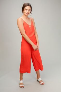 baea1cd9b0 Lumiere - Young Contemporary Woven v-neck jumpsuit with spaghetti straps.