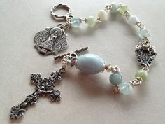 I handcraft heirloom quality gemstone rosaries in classical chain work. The rosary bead parts are vintage reproduction. Aquamarine Gemstone, Jasper Gemstone, Agate Gemstone, Rosary Bracelet, Rosary Beads, Beaded Bracelets, St Columba, Confirmation Gifts, Rosary Catholic