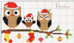 gufi di Natale schema punto croce - cross Stitch - Kreuzstich - Punto de Cruz
