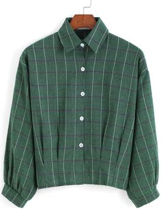 Green Lapel Preppy Appropriately Checks Plaid Buttons Crop Blouse 9.99