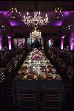 Head table is illuminated to create a dramatic dining room