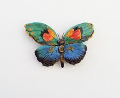 Jewel Tone Ceramic Butterfly Magnet   Super Strong by PaintedFancy, $25.00