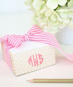 Handstamped Monogram Notepad Block | Damask Love