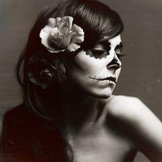 black and white, day of the dead, dia de los muertos, face, flowers, girl, makeup, paint, roses, skeleton, skin, skull