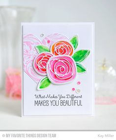 Circle Scribble Flowers, Garden Flourish Background, Tickled Pink, Circle Scribble Flowers Die-namics, Pierced Heart STAX Die-namics, Scribbles Die-namics - Kay Miller  #mftstamps
