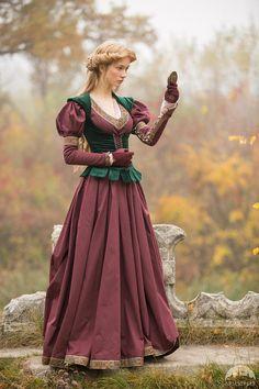 """Medieval Cotton Fantasy Dress and Vest Costume """"Princess in Exile""""; Dress and Velvet Vest"""