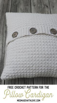 Crochet pattern for Pillow Cardigan - Megmade with Love crochet pillow Crochet Afghans, Crochet Pillow Patterns Free, Crochet Flower Patterns, Crochet Stitches Patterns, Crochet Flowers, Afghan Patterns, Square Patterns, Doilies Crochet, Crochet Blankets