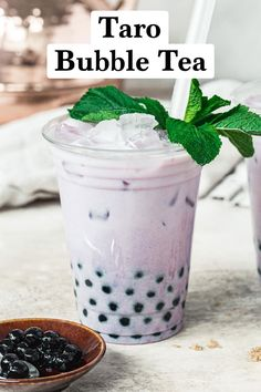 This Taiwanese-inspired Taro Bubble Tea is a creamy milk tea filled with tapioca pearls and a green tea base. With a purple tint from the taro, you get a delicious and super sweet beverage that's fun to sip. #TaroBubbleTea #EasyBubbleTeaRecipe #BobaTeaRecipe Refreshing Cocktails, Cocktail Drinks, Easy Bubble Tea Recipe, Drinks Alcohol Recipes, Drink Recipes, Taro Bubble Tea, Easy Mocktails, Boba Tea Recipe, Brown Sugar Syrup