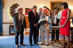 Medicine Crow (seen with the Obamas) was nominated for the Congressional Gold Medal and was awarded honorary doctoral degrees from the University of Southern California and Montana's Rocky Mountain College