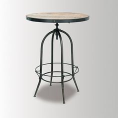 """Footrest Pub Table #WestElm 32""""diam. x 42""""h.  Table height adjusts from 38"""" to 45.5"""".  Fits 4 - 5 people"""