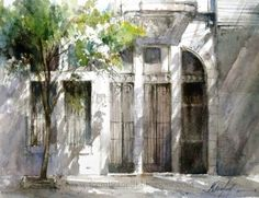 Watercolor by Fábio Cembranelli. Different colors in the shadows, leaving the pencil lines in there, really utilizing the white of the paper. Very John Singer Sargent.