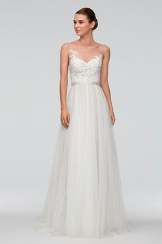 Watters Azriel Gown - flowy and illusion, perfect combo