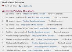 GCSE All Worksheet Answers | Corbettmaths