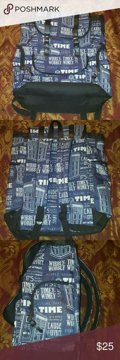 Doctor Who Large slouch bag Large bag, great for a high school student or a college student. I used it around 3-4 times in college and it carried everything I needed it carry, and still is very durable.  90% polyester 10% pu  Blue/Black/White  My original price: $25(now $22!) Limited time only! Hot Topic Bags Backpacks