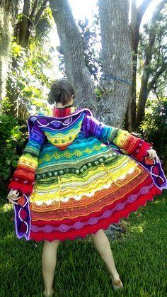 """Custom freeform technicolor dream coat"" by EarthTricks on etsy"