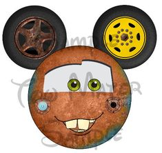 Tow Mater Cars Character Mickey head digital by SwirlyColorPixels