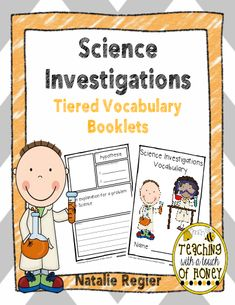 """Science Investigations Tiered Vocabulary Booklets Develop your students' vocabulary skills with tiered Science Investigations vocabulary booklets that match their learning needs! The """"Science Investigations Tiered Vocabulary Booklets"""" package is aligned with the common core and contains three different versions of the vocabulary booklet. The words included in the vocabulary booklets are: analyze, conclusion, data, describe, evidence, hypothesis, investigate, observe, prediction, and record."""
