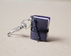 Leather book keychain, book key chain, leather keychain, men keychain, miniature book keychain, book lover, literature jewelry - purple