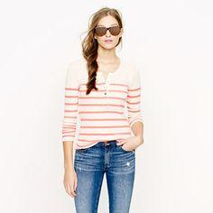 Thermal henley in stripe - long-sleeve tees - Women's knits & tees - J.Crew