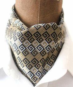 KrawattenschalPaisleyAscotkrawatte in beige-schwarz gewebt