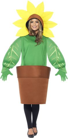 Adult Unisex Sunflower Costume, Top with Attached Hood, Plant Pot and Gloves - BoutiquebyBombshell Cool Halloween Costumes, Awesome Costumes, Costume Ideas, Potted Plants, Unisex, Hats, Clothes, Collection, Wicked