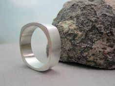 silver mens or womens ring squared band by TheresaPytell on Etsy, $65.00