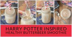 Feel the magic! This easy smoothie recipe tastes like Butterbeer sold at Hogsmeade in the Wizarding World of Harry Potter but it contains no sugar & is vegan.