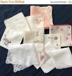 LOT of 10 Vintage Ladies Handkerchiefs Hankies Ladies | Etsy Coral Blue, Pink Purple, Hand Tats, Cushion Cover Designs, Blue Face Mask, Vintage Handkerchiefs, Hand Applique, Bridesmaid Gifts, Floral Wedding