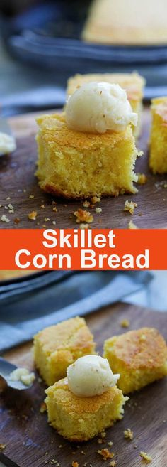 Skillet Corn Bread – the easiest and most delicious corn bread recipe ever. Made in a skillet and bake in oven and served with whipped honey butter | rasamalaysia.com