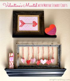 A fun and easy DIY Valentine's Mantel made with #MarthaStewartCrafts! #12MonthsofMartha
