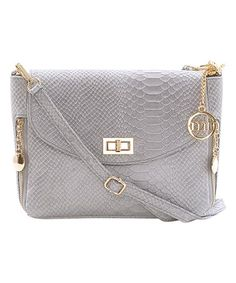 This Gray Snake-Embossed Zip-Accent Leather Crossbody Bag is perfect! #zulilyfinds