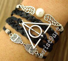 Harry Potter bracelet - Deathly Hallows,owl wing bracelet,antique silver,vintage style,charm bracelet,braid bracelet. Etsy