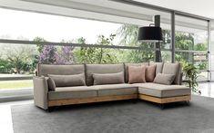 Σαλόνι γωνία Linen με ξύλο μασίφ στη βάση του καναπέ σε συνδιασμό με μεταλλικό πόδι Outdoor Sectional, Sectional Sofa, Outdoor Furniture, Outdoor Decor, Home Decor, Modular Sofa, Decoration Home, Corner Sofa, Room Decor