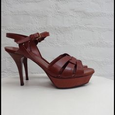 YSL 75mm Tributes YSL 75 Tribute heels. This is the lower heel; same look and easier to walk in! Cognac colored leather, great condition. Only worn a few times but have had sole reinforcements added for protection. Size 41 or size 10-10.5 Yves Saint Laurent Shoes Heels