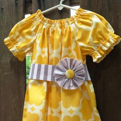 Thanksgiving Girls Outfit Peasant dress Yellow by SweetWhitePeony