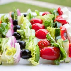 Greek Salad Skewers - Greek Salad on-a-stick!