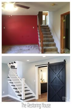 A whole house renovation. A post loaded with before and after pictures. Tons of inspiration. home renovation The Connector House Home Improvement Projects, Home Projects, Home Renovation Loan, House Renovations, Farmhouse Renovation, Small House Renovation, Bathroom Renovations, Before After Home, Home Addition Plans