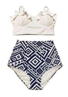 9db11a1d2cc4e High Waist Swimsuit New Bikinis Women Push Up Bikini Set Plus Size Swimwear  Vintage Retro Floral