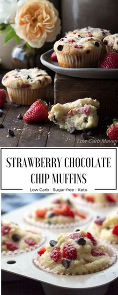 Low carb strawberry chocolate chip muffins are a great sugar-free muffin made with coconut flour. Make these muffins in advance and take them with you as the perfect keto breakfast or snack on the go!