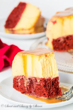 Impress your sweetheart with this fabulous magic red velvet flan cake. This cake is not only stunning to look at, it's also absolutely divine to devour! Plus, something magical happens during baking. Just Desserts, Delicious Desserts, Yummy Food, Yummy Treats, Sweet Treats, Cake Recipes, Dessert Recipes, Steak Recipes, Cooking Recipes