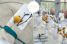 Craspedia tablescape by Studio Fleurette | Photography by Kristina Lynn Photography
