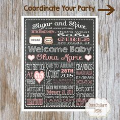 Sugar and Spice Baby Shower Chalkboard Sign, Mommy-To-Be Chalkboard Sign, Baby Announcement, Baby Shower Decor, DIY Printable (MTB 003) by charmcitycharm on Etsy