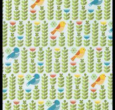 Stoff Vögel - Stoff VÖGEL blau Kinderstoff Forest Parade - ein Designerstück von StoffQuartier_ bei DaWanda