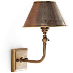 Messing-Wandleuchte mit einstellbarem Schirm W243 *Die kleine Wandlampe, hier in Alt-Messing