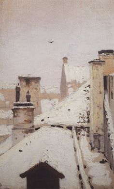 """Roofs. Winter"", 1876, Arkhip Kuindzhi"