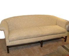 Vintage Mid Century Beautiful Henredon Federal Sofa- Cream Damask Upholstery/ Down Cushion