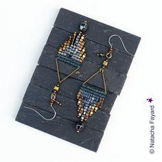 Boucles d'oreilles tissées micro macramé et perles de rocailles miyuki gris anthracite hématite bronze